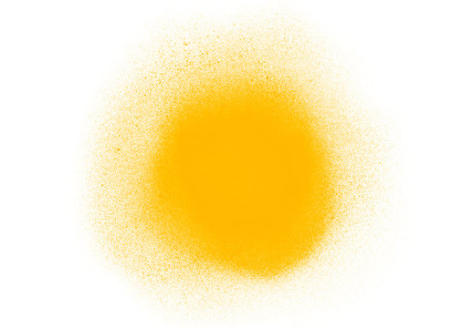 Yellow circle watercolor spray brush isolated on white background