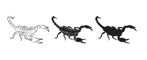 Vector of scorpions isolated on white background. Insect. Animal. Scorpions logo or Icon. Easy editable layered vector illustration.
