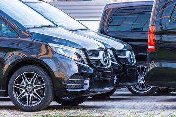 Black luxury van two Mercedes-Benz minivan. Russia. Saint-Petersburg. 28 October 2019.