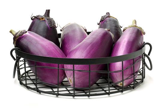 Mini Baby Eggplant isolated on white background