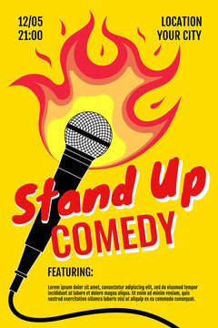 Stand up comedy night live show A3 A4 poster design template. Standup microphone with fire on yellow background. Hot jokes roast concept flyer. Vector open mic event illustration