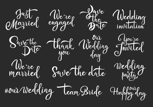 Save date marriage white handwritten vector lettering set