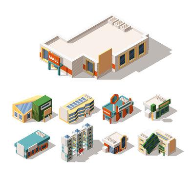 Mall exterior designs isometric 3D vector illustrations set