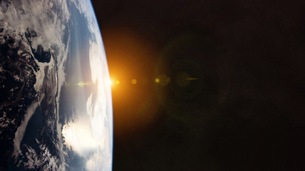 Garden Poster Nasa View of planet Earth close up with atmosphere during a sunrise 3D rendering elements of this image furnished by NASA