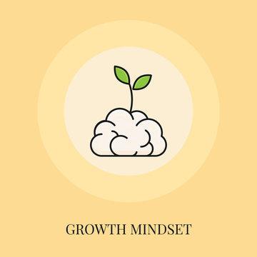 Growth Mindset Concept. Flat Line Icon. Vector illustration.
