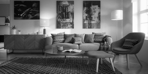 Modern Furnishings and Art Panintings Inside an Apartment - 3d visualization  in black and white
