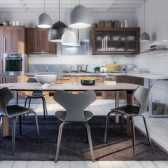 Modern Kitchen Area with Dining Room Integration (focused) - 3d visualization