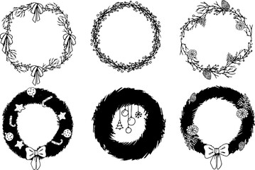 Black icons christmas wreaths coloring in beautiful style on white background. Holly decor set. Cartoon vector illustration. Christmas festive holly decoration.