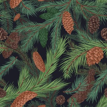 Christmas tree with brown cones hand drawn seamless pattern