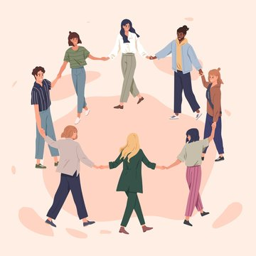 Happy people holding hands together flat vector illustration. Adult men and women standing in circle cartoon characters. Cheerful friends perform round dance. International togetherness concept.