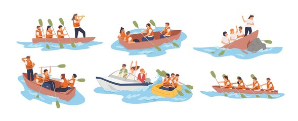 Business team in boat vector illustrations set. Teamwork, stuff cooperation concept. Different situations, joint problem solving. Business partnership metaphor. Boat teams isolated on white background Fotomurales