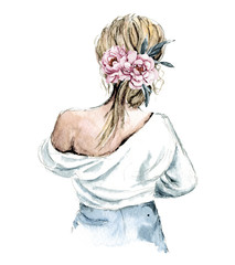Sketch cute girl with flowers. Watercolor hand painting, woman isolated on white background.