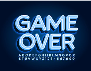 Vector Neon Sign Game Over. Blue Glowing  Font. Electric Alphabet Letters and Numbers.
