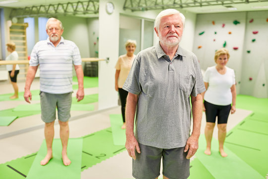 Seniors in the gym in a gym class