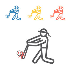 Softball line icon. Vector sport signs for web graphics