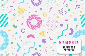 Memphis seamless pattern. Vector. Different halftone geometric shape and colorful geometric shapes seamless pattern.