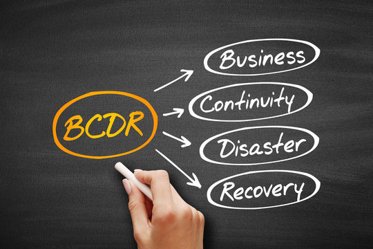 BCDR - Business Continuity Disaster Recovery acronym, business concept on blackboard