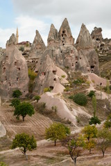 Houses carved in the tuff. Uchisar. Cappadocia. Turkey