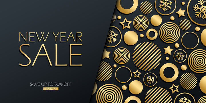 New Year Sale special offer luxury banner with gold colored christmas balls, stars and snowflakes on black background. Discount up to 50% off. Vector illustration.