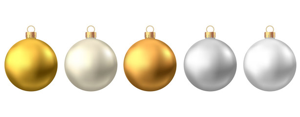 Fotomurales - Realistic  gold, silver  Christmas  balls  isolated on white background.