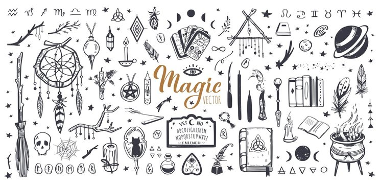 Witchcraft, magic background for witches and wizards. Wicca and pagan tradition. Vector vintage collection. Hand drawn elements candles, book of shadows, potion, tarot cards etc.