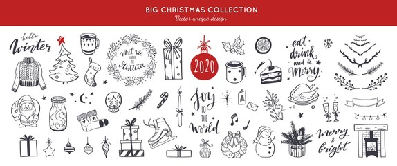 Big Merry Christmas and happy New Year festive vector collection. Different hand drawn doodle elements, Christmas tree, fireplace, coxy sweater, Winter holidays attributes. Handwritten Lettering. Fotobehang