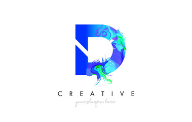 D Letter Icon Design Logo With Creative Artistic Ink Painting Flow in Blue Green Colors