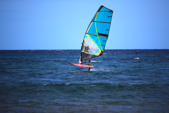Windsurfer using a foilboard causing the board to leave the surface of the water (El Medano, Spain)