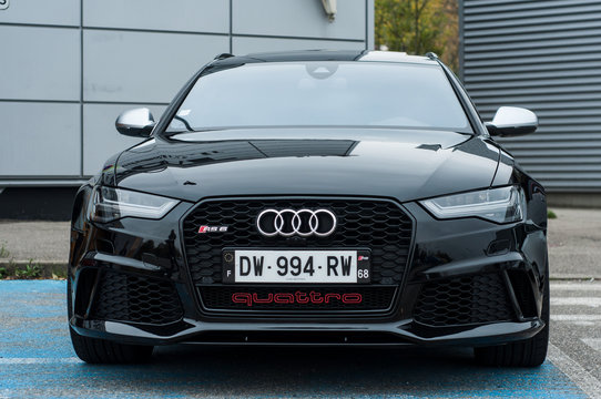 Mulhouse - France - 10 November 2019  - Front view of black Audi RS 6 car parked in the street