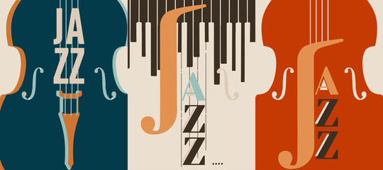 Jazz music festival poster with violoncello flat vector illustration design. Colorful music background, music show, live concert events, party flyer, jazz music poster with cello Fotomurales