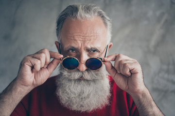 Where you 2020. Close up photo of brutal serious old man touch his trendy specs look gorgeous on...