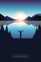Fotobehang Blauw adventure at blue lake with happy girl with raised arms vector illustration EPS10