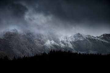 Recess Fitting Gray traffic Stunning dramatic landscape image of snowcapped Glyders mountain range in Snowdonia during Winter with menacing low clouds hanging at the peaks