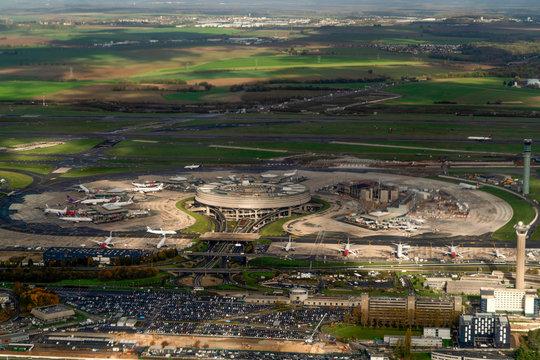 PARIS, FRANCE - NOVEMBER 7 2019 - Paris airport CDG landing and loading cargo and passenger