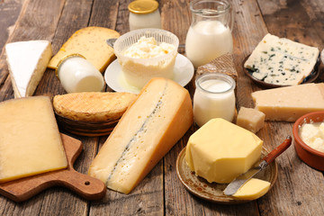 assorted of dairy product with cheese, milk, butter