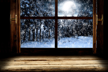 Winter window background of free space and chritmas time.
