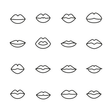 Vector line icons collection of lips.