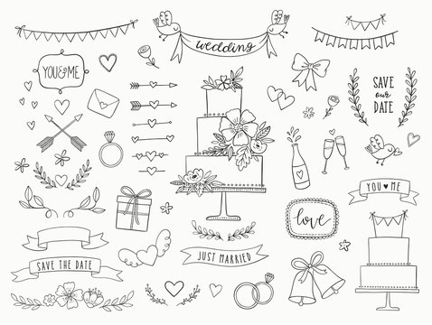 Hand drawn doodle wedding collection. Vector wedding icons, illustrations and design elements for invitations, greeting cards, posters. Arrows, hearts, laurel, wreaths, ribbons, flowers, banners.