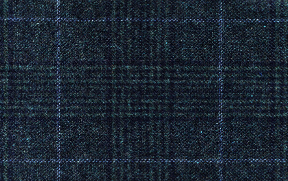 Dark grey woolen fabric. Classic blue check. Geometric patterns in Cashmere. Traditional Scottish Glen plaid. Expensive men's suit fabric. High resolution