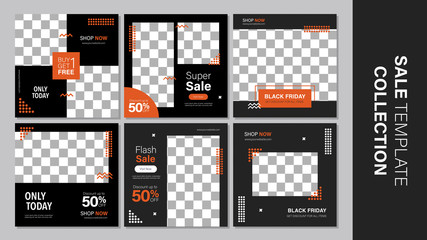 Sale template collection for promotion sale. Editable banner for social media post, web and internet. Black friday holiday event.