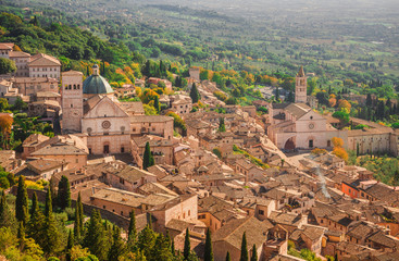 View of Assisi charming historic center and Umbria countryside seen from above with St Rufinus Cathedral and Basilica of St Clare