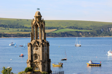 old church tower in swanage, dorset