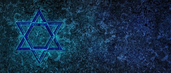 Jewish Holiday. Star of David with bleu background. Jewish holiday Hanukkah. Illustration.