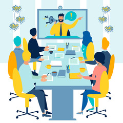Meeting on conference video call raster illustration