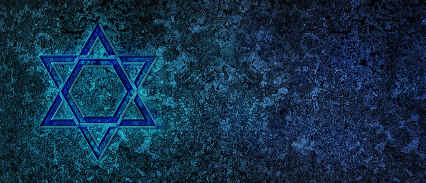 Jewish Holiday. Star of David with bleu background. Jewish holiday Hanukkah. Illustration.