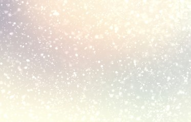 Light snow on pastel subtle background. Bright yellow pearl shiny texture. Delicate winter simple pattern.