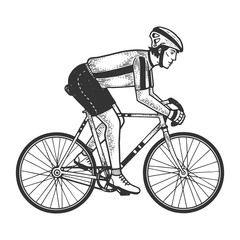 Road bicycle racer sketch engraving vector illustration. T-shirt apparel print design. Scratch board imitation. Black and white hand drawn image.