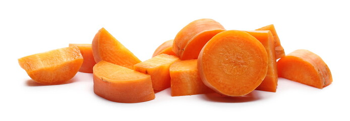 Chopped carrot slices, isolated on white background
