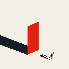 Business obstacle vector concept with businessman and woman looking at wall. Symbol of finding solutions.