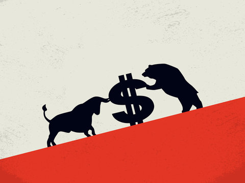 Bull vs bear market vector concept with dollar sign as symbol of stock exchange. Economic, investment fight.